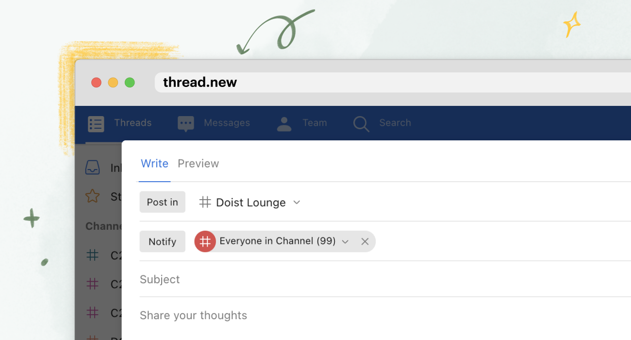 Browser with a thread.new in the address bar and a brand new Twist thread open!